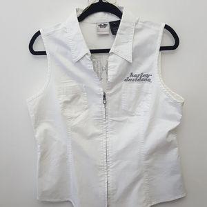 HARLEY DAVIDSON White Cotton Vest